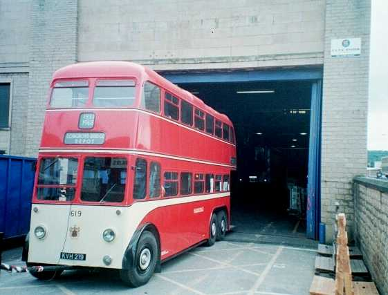 Huddersfield Trolleybus 619 at Longroyd Bridge Depot