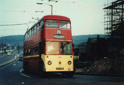 Huddersfield Trolleybus 619 at Shore Head